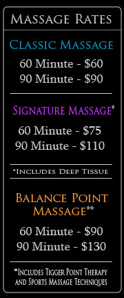 Massage Rates 2012 - Deep Tissue Massage - Sports Massage - Trigger Point Massage - Prenatal Massage