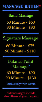 Massage Rates for Massage San Diego 2010